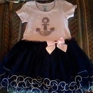 Gorgeous ruffle tule anchor dress for toddler girl